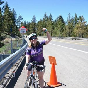 Alyssa on bike in Lake Tahoe